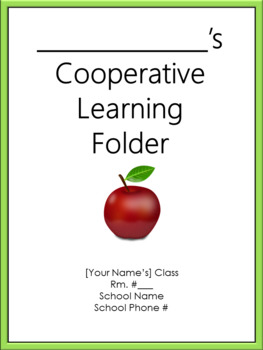 Cooperative Learning Folder Cover Sheet - Bilingual - Green Border