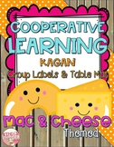 Cooperative Learning Group Labels and Table Mat Mac & Cheese Theme