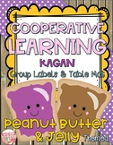 Cooperative Learning Group Labels and Table Mat Peanut Butter and Jelly Theme