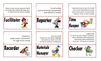 Cooperative Learning Group Role Labels Task Cards