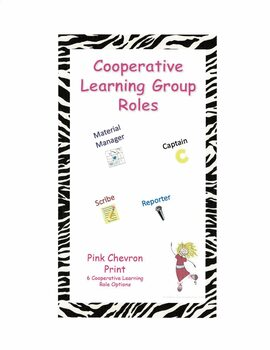 Cooperative Learning Group Roles - Pink Chevron