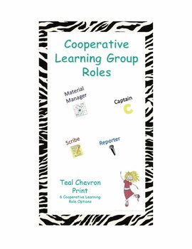 Cooperative Learning Group Roles - Teal Chevron