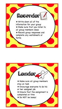 Cooperative Learning Group Task and Job Cards