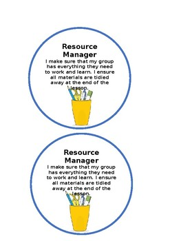 Cooperative Learning Group Work Roles- Group Jobs