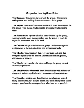 Cooperative Learning Groups Roles and Responsibilities