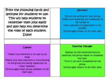 Cooperative Learning Job Cards