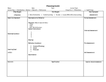 Cooperative Learning Lesson and Template