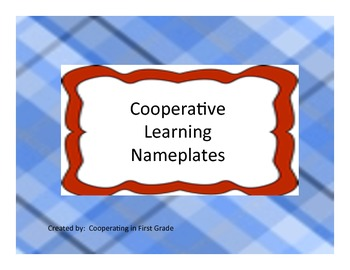 Cooperative Learning Name Plates
