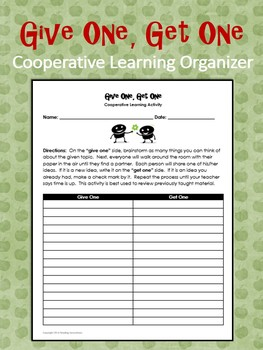 Cooperative Learning Organizer:  Give One, Get One