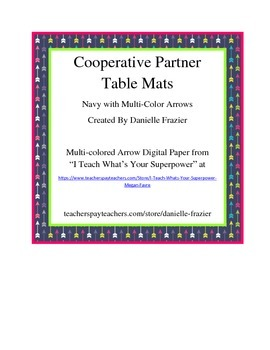 Cooperative Learning Partner Table Mat - Navy and Multi-Colored Arrows