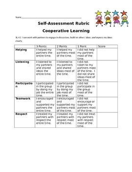 Cooperative Learning Rubric Freebie