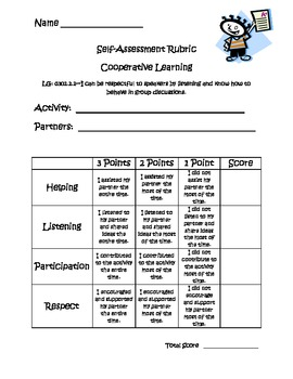Cooperative Learning Self-Assessment Rubric by Jamie ...