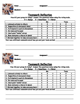 Student Reflection Sheet - Cooperative Learning