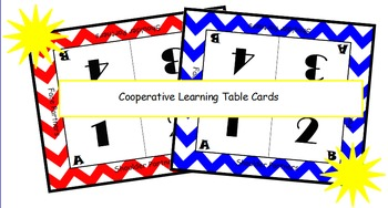 Cooperative Learning Table Cards