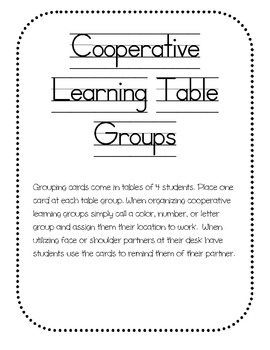 Cooperative Learning Table Groups