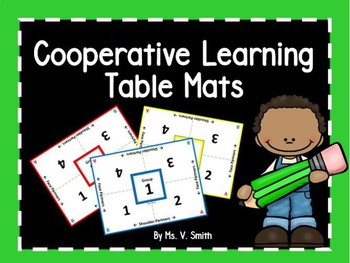 Cooperative Learning Table Mats (Color Group Numbers)