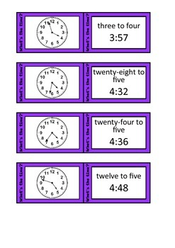 Quiz Quiz Trade Telling Time To 1 Minute Cards