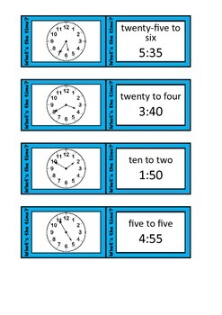Quiz Quiz Trade Telling Time To 5 Minutes Cards