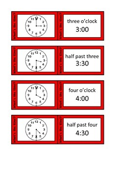 Quiz Quiz Trade Telling Time To Half Hour Cards