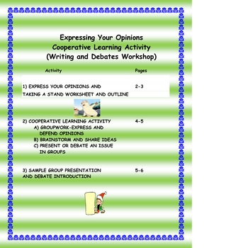 Cooperative Learning Workshop Writing Activity-Express and Defend Opinions