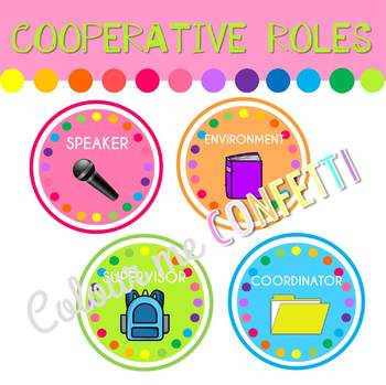 FREEBIE Cooperative Learning roles - Colour me Confetti