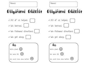 Cooperative Self-Check List
