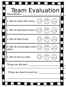 Cooperative Team Evaluation Form