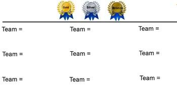 Cooperative Teamwork Slides (Gold, Silver, Bronze) Smart Board interactive