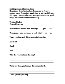 Cooperative Teamwork Student Observation Sheets