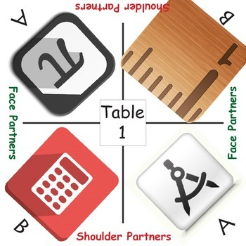 Cooperative learning table mats MATH