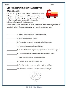 Coordinate Adjectives and Cumulative Adjectives Handout and Practice Worksheets