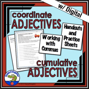 Coordinate Adjectives and Cumulative Adjectives Handout and Practice ...