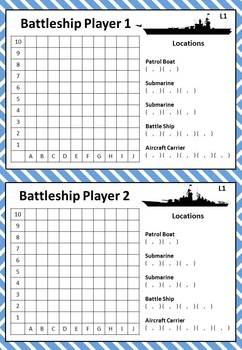 Coordinate Battleship - 4 Levels