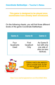 Coordinate Battleships Game - Differentiated