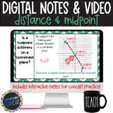 Coordinate Distance & Midpoint Digital Notes; Distance Lea