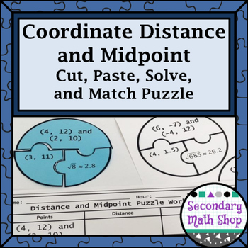 Coordinate Distance and Midpoint Cut, Paste, Solve, Match Puzzle Activity