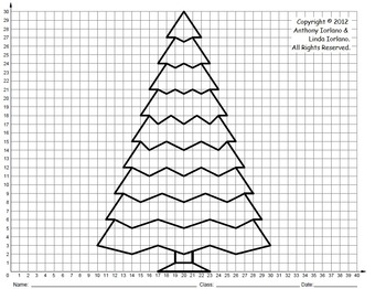 christmas tree middle school coordinate drawing graphing mystery picture. Black Bedroom Furniture Sets. Home Design Ideas