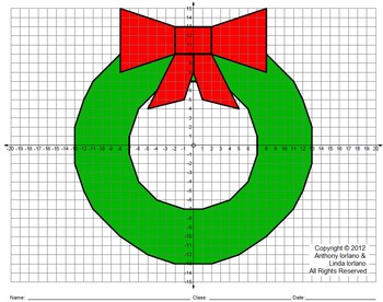 wreath winter christmas coordinate drawing graphing mystery picture. Black Bedroom Furniture Sets. Home Design Ideas