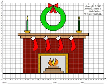 Fireplace, Christmas, Winter, Coordinate Drawing \u0026 Graphing, Mystery Picture