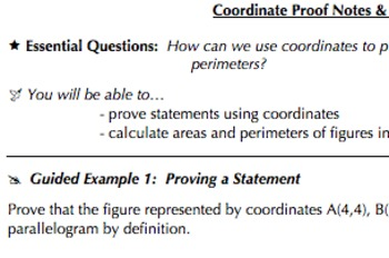 Coordinate Geometry Common Core Bundle (G GPE 4, G,GPE 5, G GPE 6, &  G GPE 7)