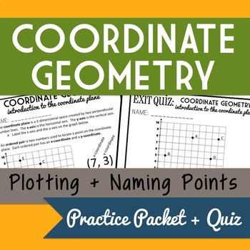 FREEBIE: Coordinate Geometry- Plotting and Naming Points Practice Packet + Quiz