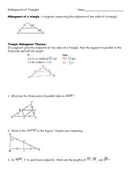 Midsegments of Triangles worksheet by Tara Vatske | TpT