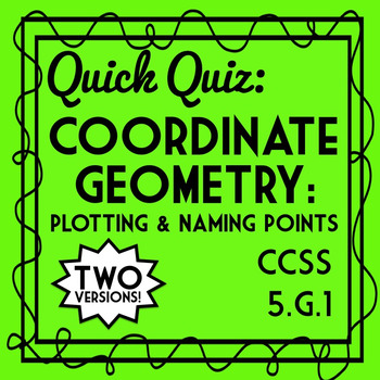 Coordinate Geometry Quiz: Plotting and Naming Points Assessment, 5.G.1