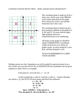 Coordinate Goemetry Review Packet - 8 pages