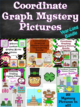 Coordinate Graph Mystery Pictures: Year-Long Bundle