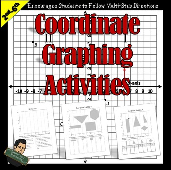 5th Grade Ordered Pairs Graphing Worksheets 5.G.A.1 | Distance Learning