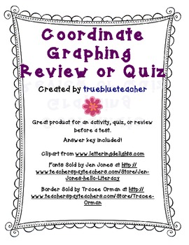 Coordinate Plane Graphing Activity, Quiz, or Review