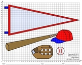 Baseball Glove, Bat, Cap and Pennant, Coordinate Drawing, Coordinate Graphing