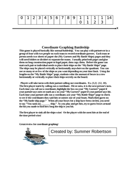 Coordinate Graphing Battle Ship