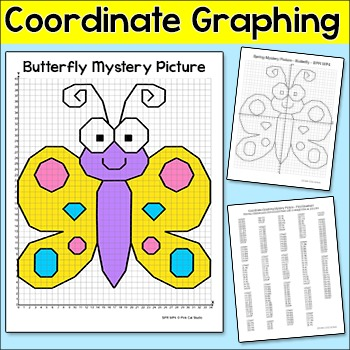 Coordinate Graphing Summer Butterfly Ordered Pairs Mystery Picture